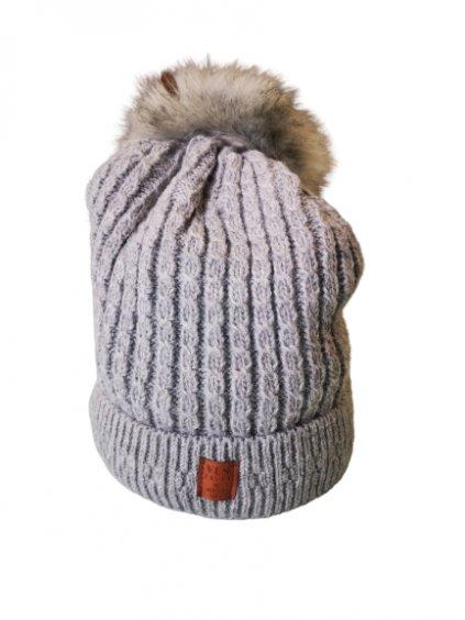 Zimní čepice s bambulí 78, barva šedá, obr. 20