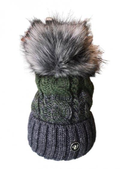 Zimní čepice 122, barva zelená, šedá, obr. 20