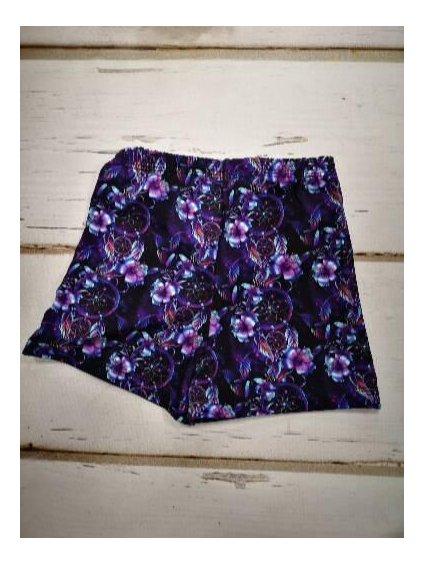 Dívčí legíny, kraťasy 21655 květy fialové