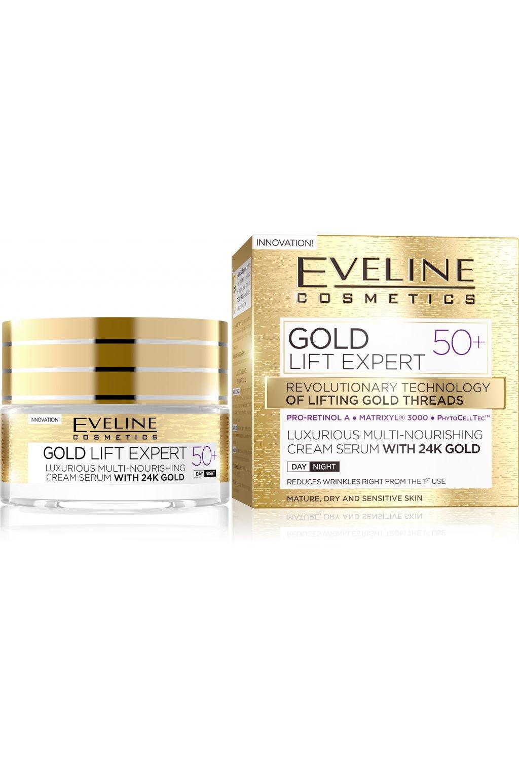eveline cosmetics gold lift expert denni a nocni krem proti vraskam 50