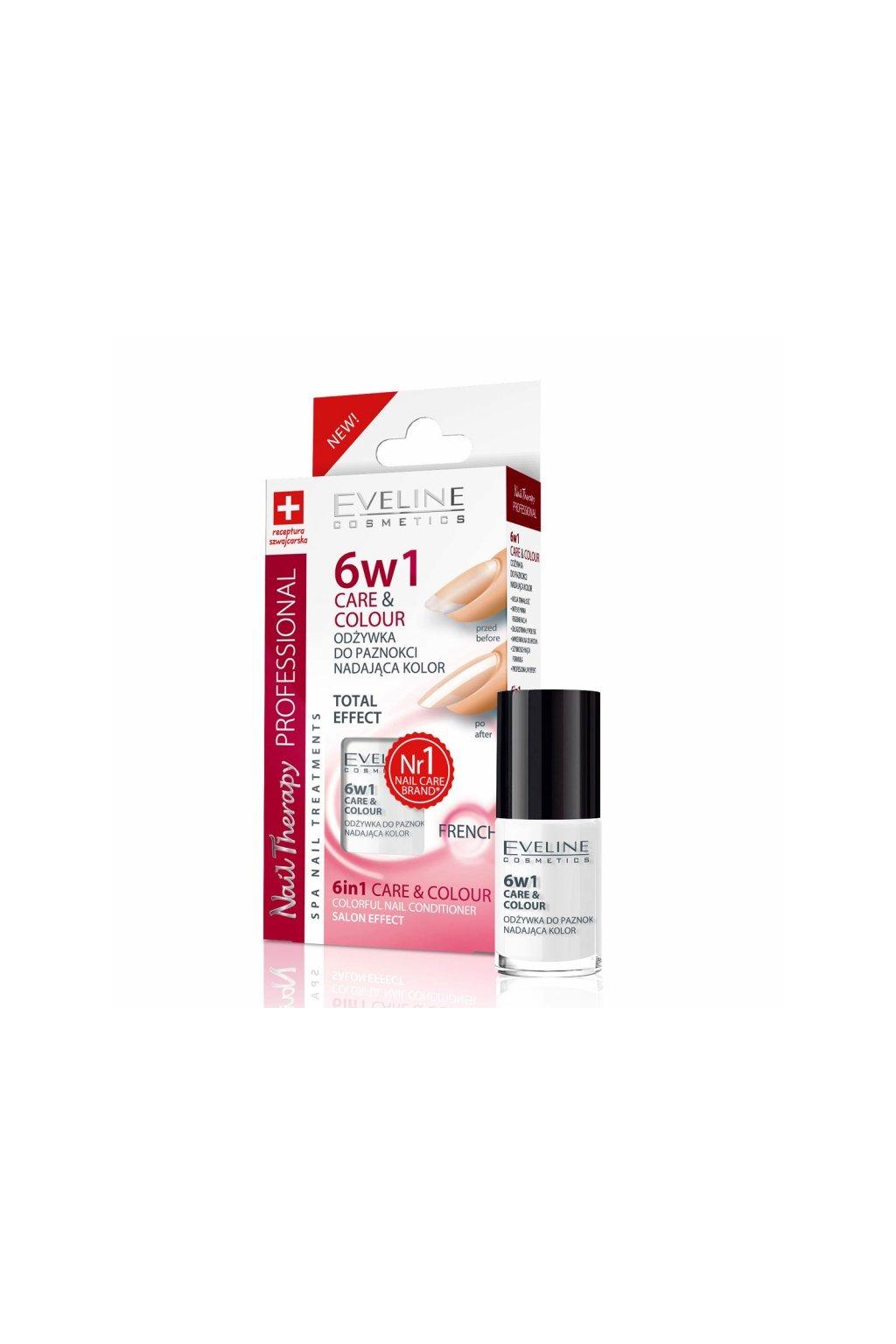 eveline cosmetics vyzivujici barevny lak na nehty 6 v 1 nail therapy odstin french