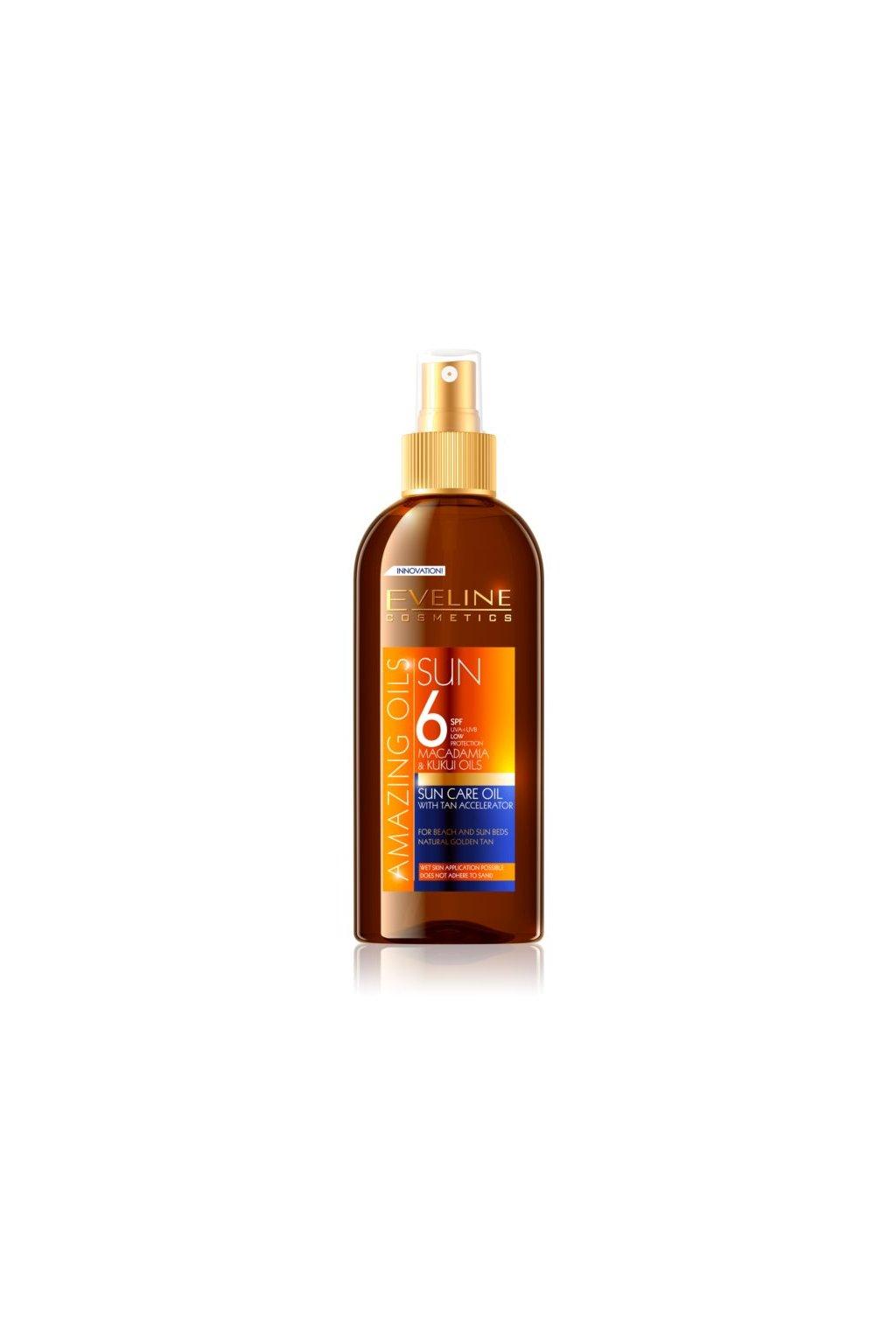 eveline cosmetics sun care olej na opalovani ve spreji spf 6