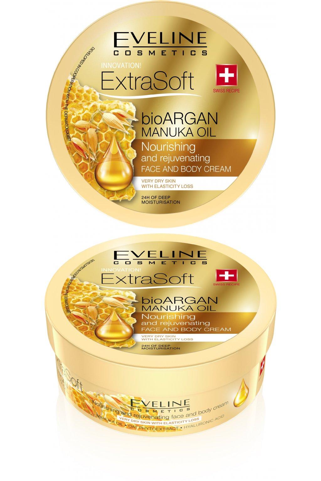 eveline cosmetics extra soft hydratacni krem na telo a oblicej s arganovym olejem