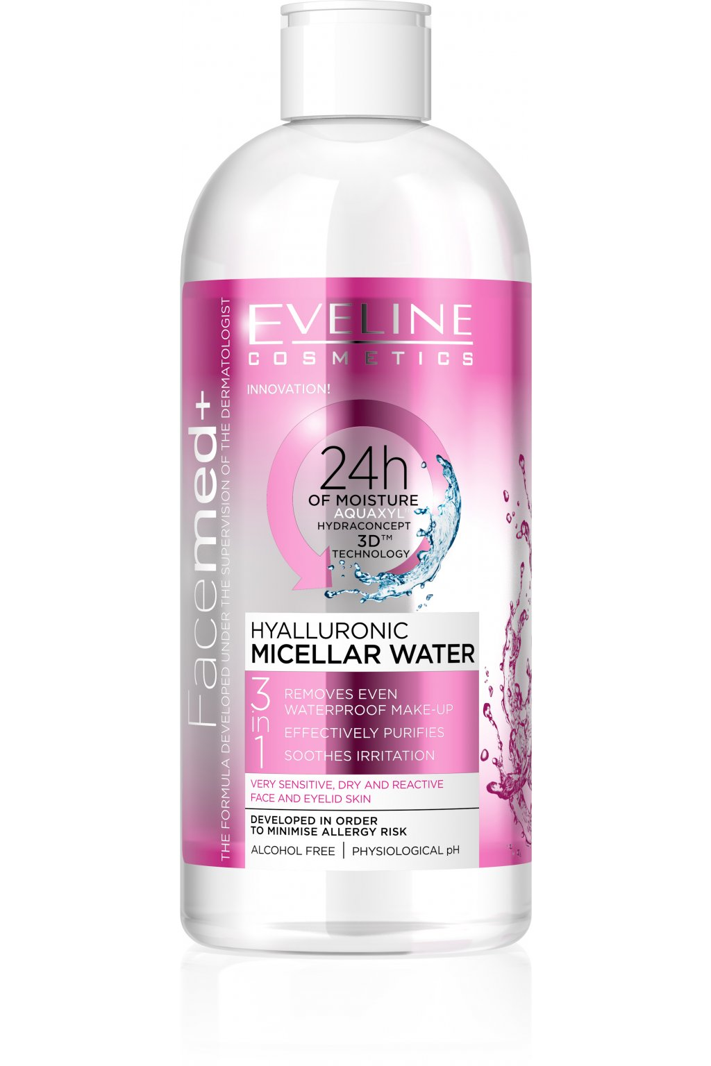 eveline cosmetics facemed hyaluronova micelarni voda 3 v 1