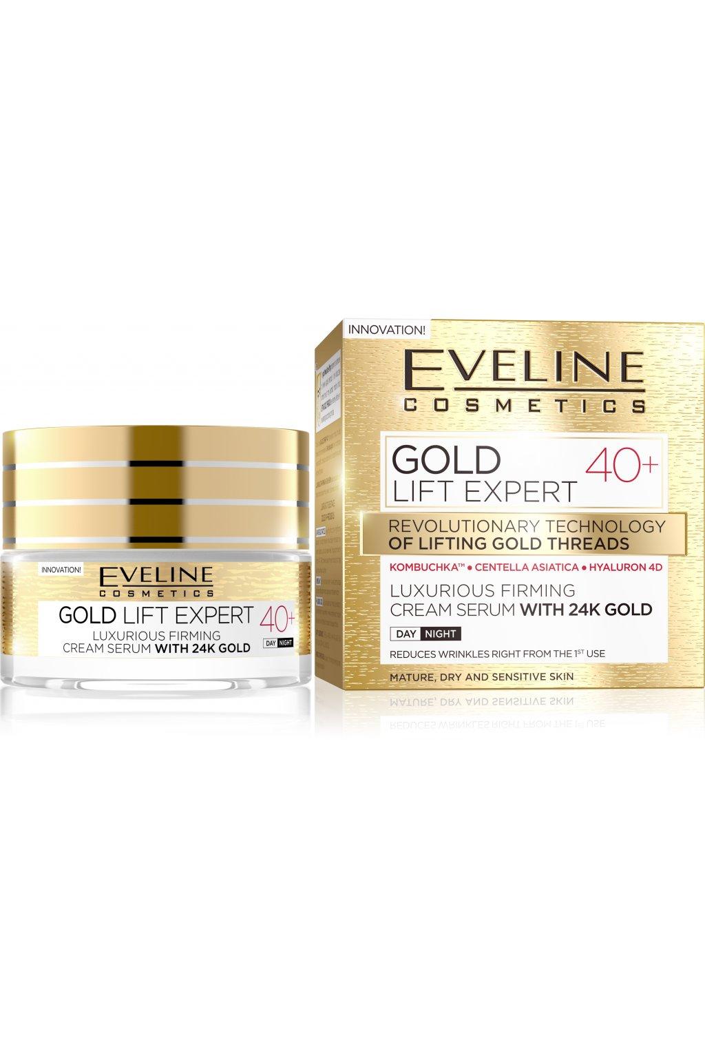 eveline cosmetics gold lift expert luxusni zpevnujici krem s 24karatovym zlatem