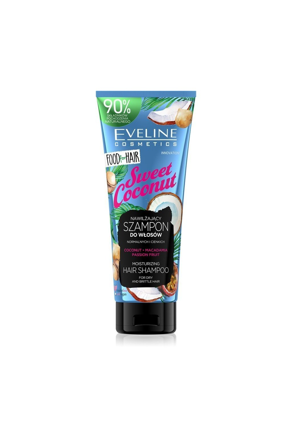 eveline cosmetics food for hair sweet coconut hydratacni sampon pro suche vlasy 250 ml