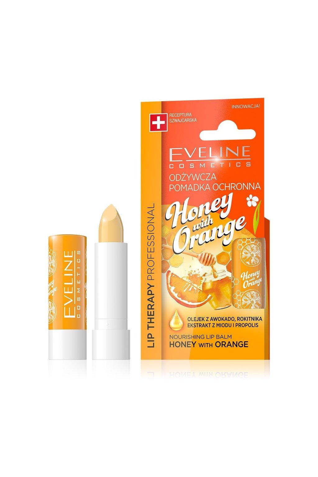 eveline cosmetics lip therapy ovocna vazelina na rty s ptichuti medu a pomerance
