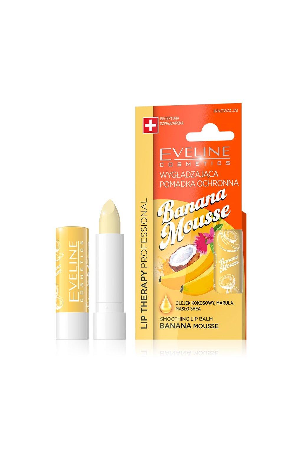 eveline cosmetics lip therapy ovocna vazelina na rty s prichuti bananu