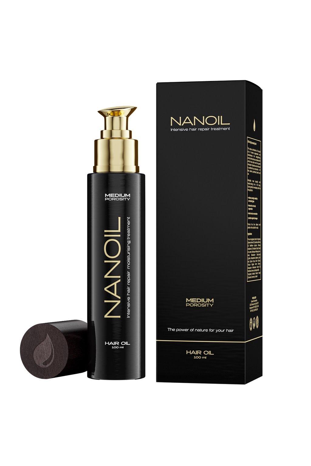 nanoil medium porosity Vlasovy olej pro vlasy se stredni porozitou 100 ml