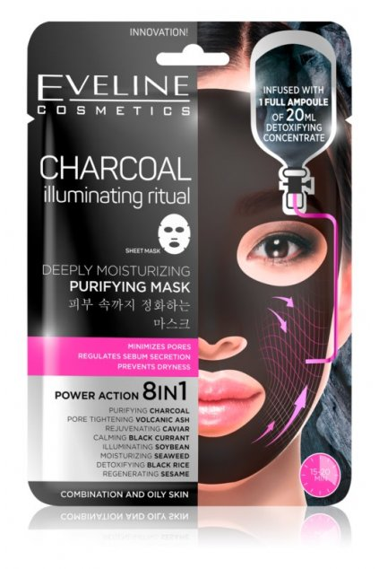 eveline cosmetics charcoal illuminating ritual super hydratacni cistici textilni maska