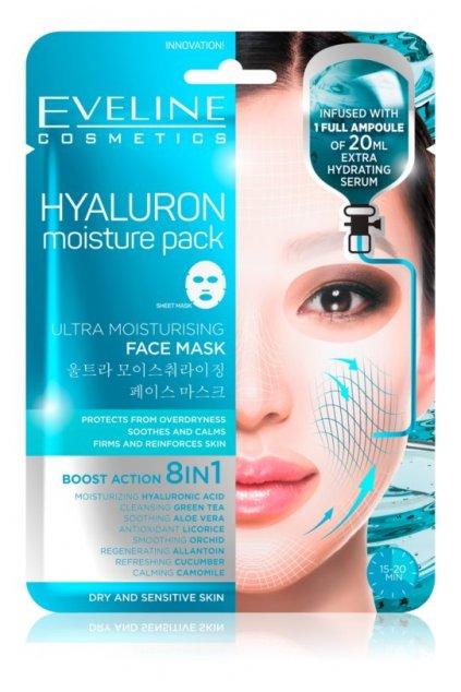 eveline cosmetics hyaluron moisture pack super hydratacni zklidnujici textilni maska