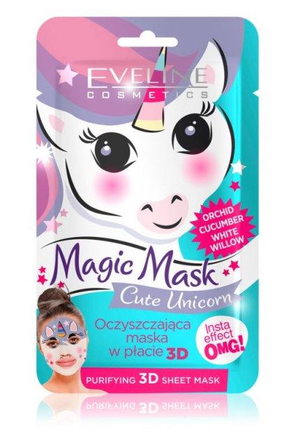 eveline cosmetics magic mask cute unicorn textilni 3d hloubkove cistici maska