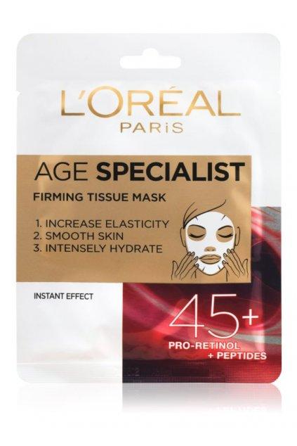 loreal paris age specialist 45 textilni maska pro okamzite zpevneni a vyhlazeni pleti