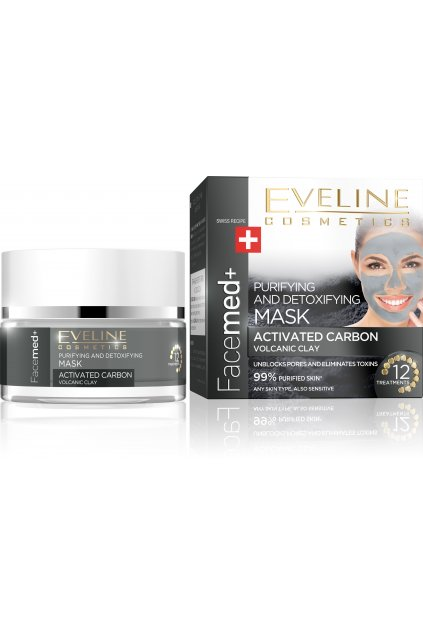 eveline cosmetics facemed cistici a detoxikacni maska s aktivnim uhlim