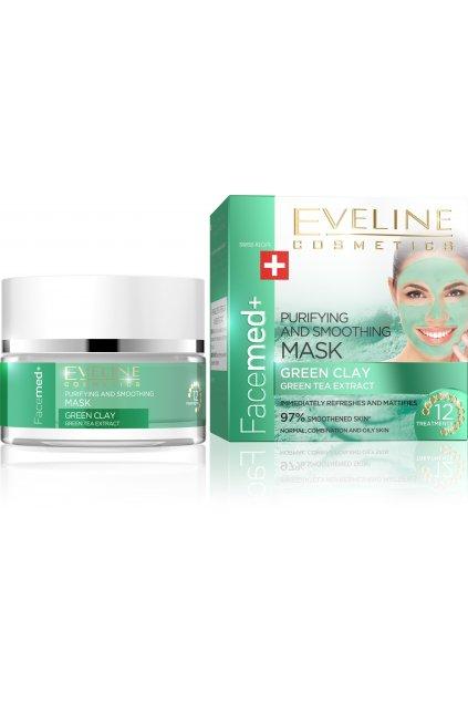 eveline cosmetics facemed cistici a vyhlazujici pletova maska se zelenym jilem