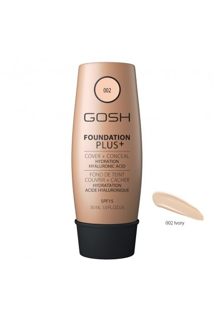 gosh foundation plus prirozene kryci hydratacni make up spf 15 odstin 002 ivory
