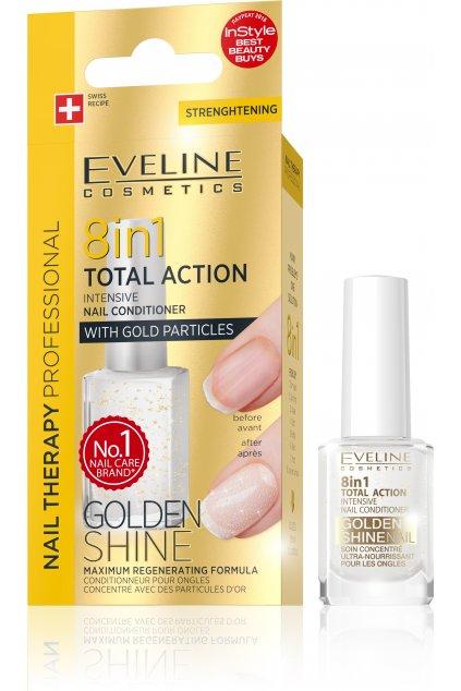 eveline cosmetics Spa Nail Total Gold 12ml kondicioner se zlatymi trpytkami