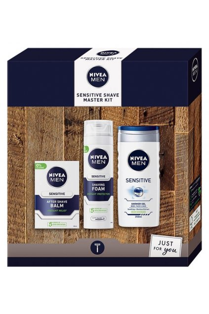 Nivea darkova sada Men Sensitive Shave Master Kit pena na holeni 200ml balzam po holeni 100ml sprchovy gel 50ml