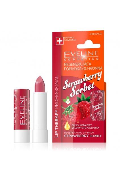 eveline cosmetics lip therapy ovocna vazelina na rty s ptichuti jahod