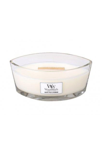 woodwick elipse white tea and jasmin vonna svicka s drevenym knotem hearthwick 454 g