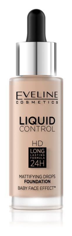 Eveline Cosmetics Liquid Control HD Mattifying Drops Foundation Odstín: 40 Warm Beige 32 ml