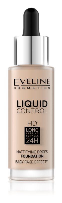 Eveline Cosmetics Liquid Control HD Mattifying Drops Foundation Odstín: 10 Light Beige 32 ml