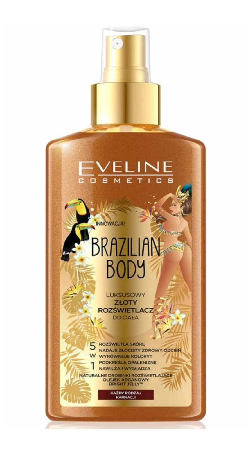 Eveline Cosmetics Brazilian Body Golden Brightener Zlatý rozjasňovač na tělo 150 ml