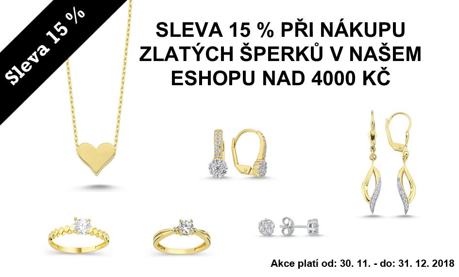 Sleva 15 % na zlaté šperky