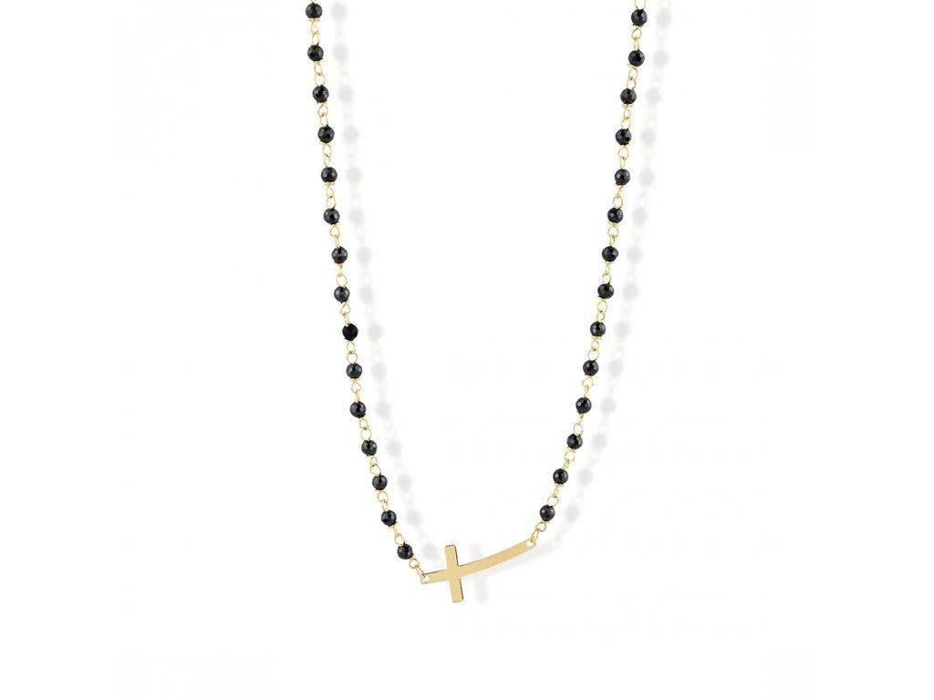Zlatý náhrdelník s onyxy LLV22-GN012