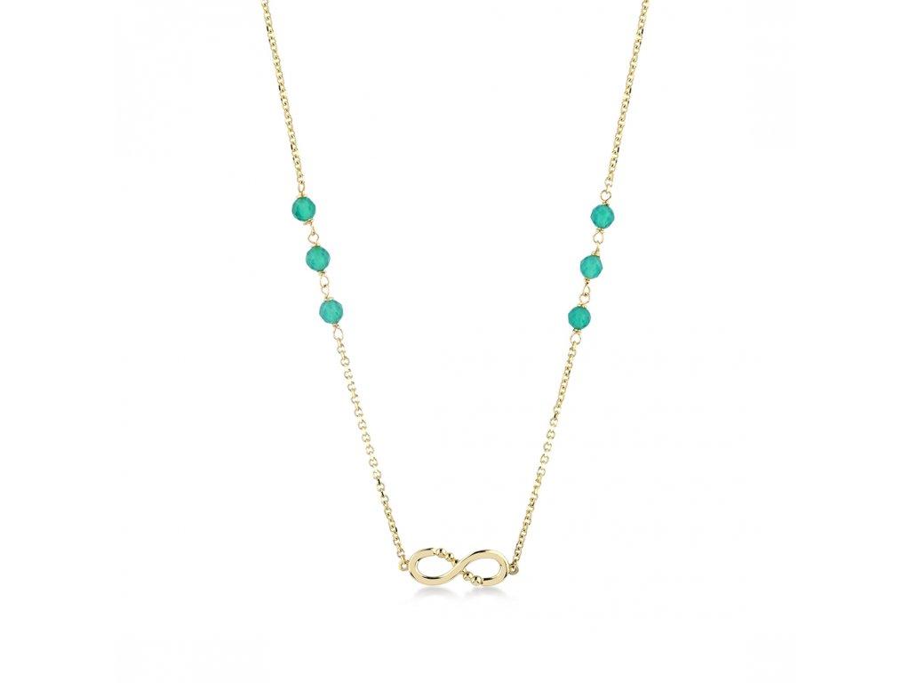Zlatý náhrdelník s agáty LLV22-GN013
