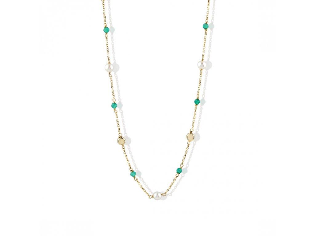 Zlatý náhrdelník s acháty a říční perly LLV22-GN014