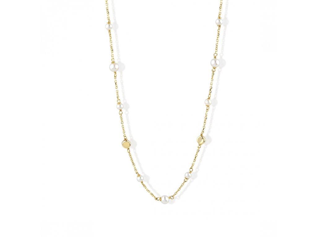 Zlatý náhrdelník s říční perly LLV22-GN015