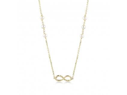 Zlatý náhrdelník s říční perly LLV22-GN011