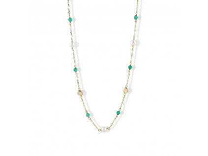 Zlatý náhrdelník s agáty a říční perly LLV22-GN014