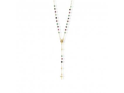 Zlatý náhrdelník s rubíny, smaragdy a safíry LLV22-GN016RZ