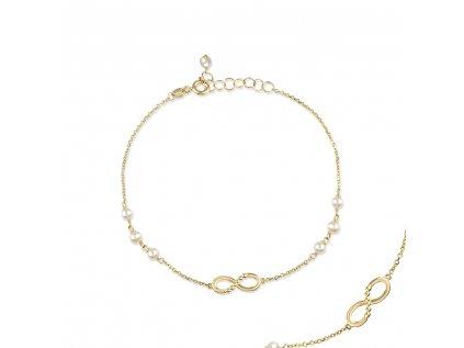 Zlatý náramek s říční perly LLV22-GB010