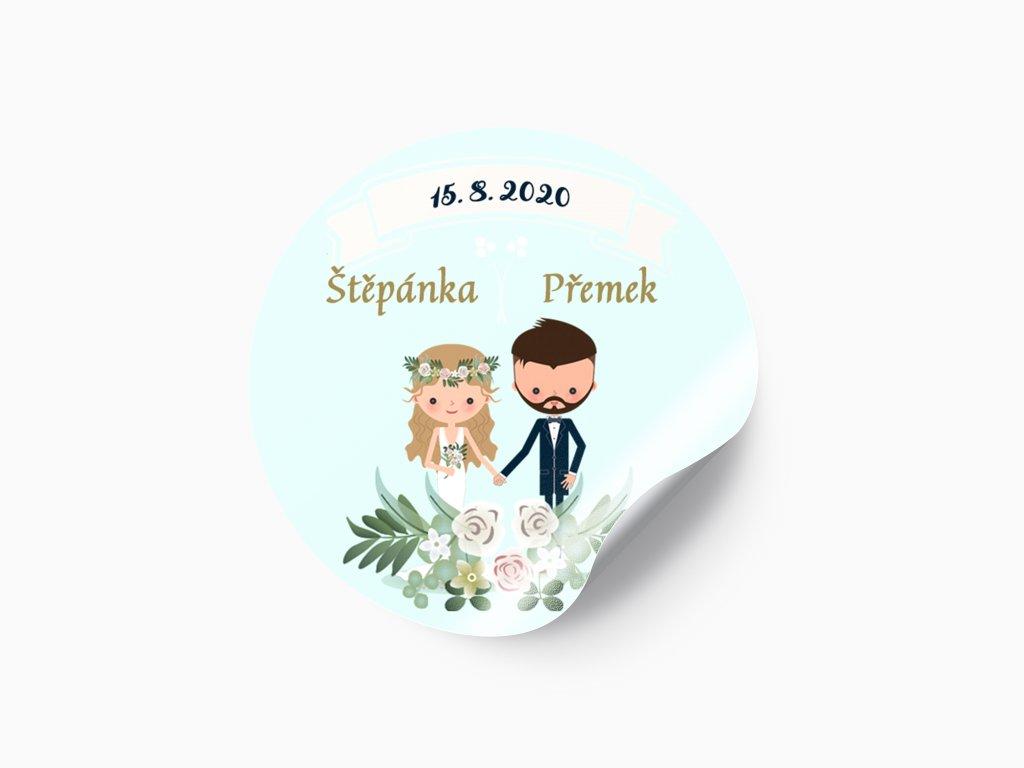 Svatební nálepka kreslený pár s girlandou