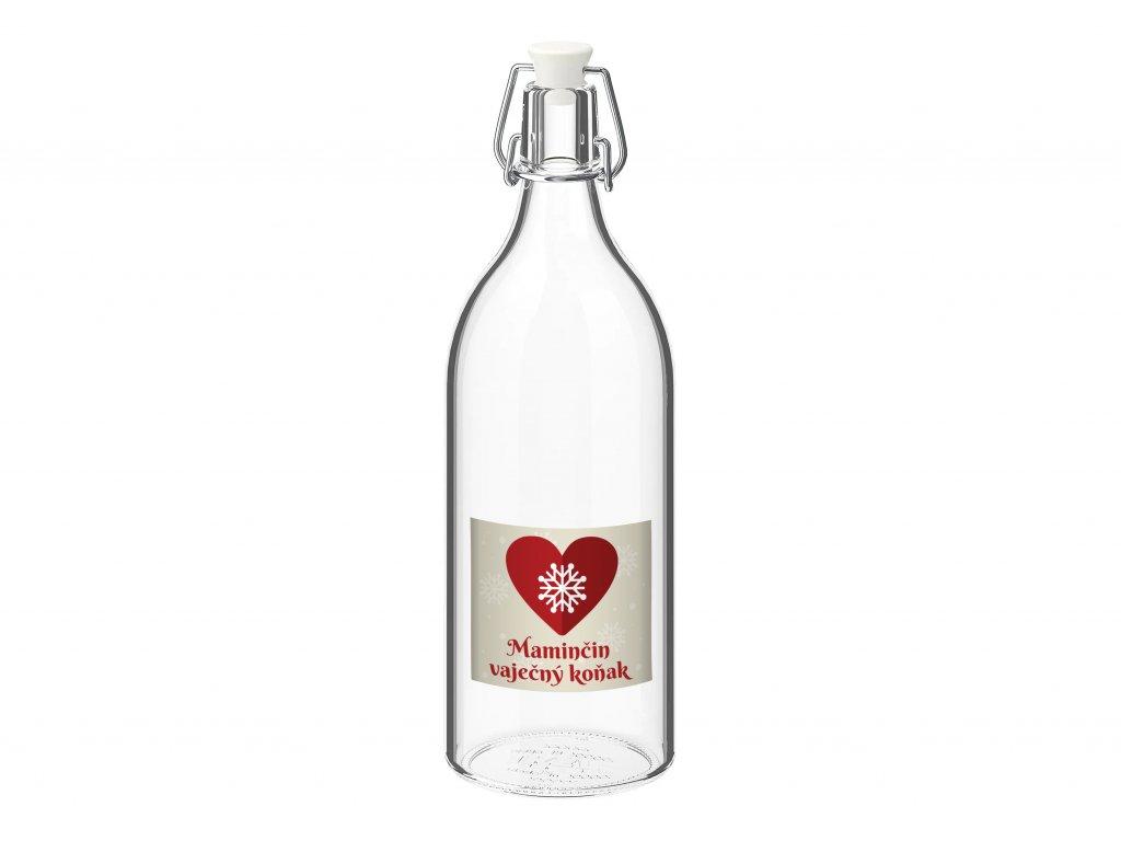 Láhev s etiketou vločka v srdci