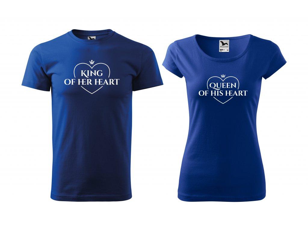 Párová trička king queen in heart