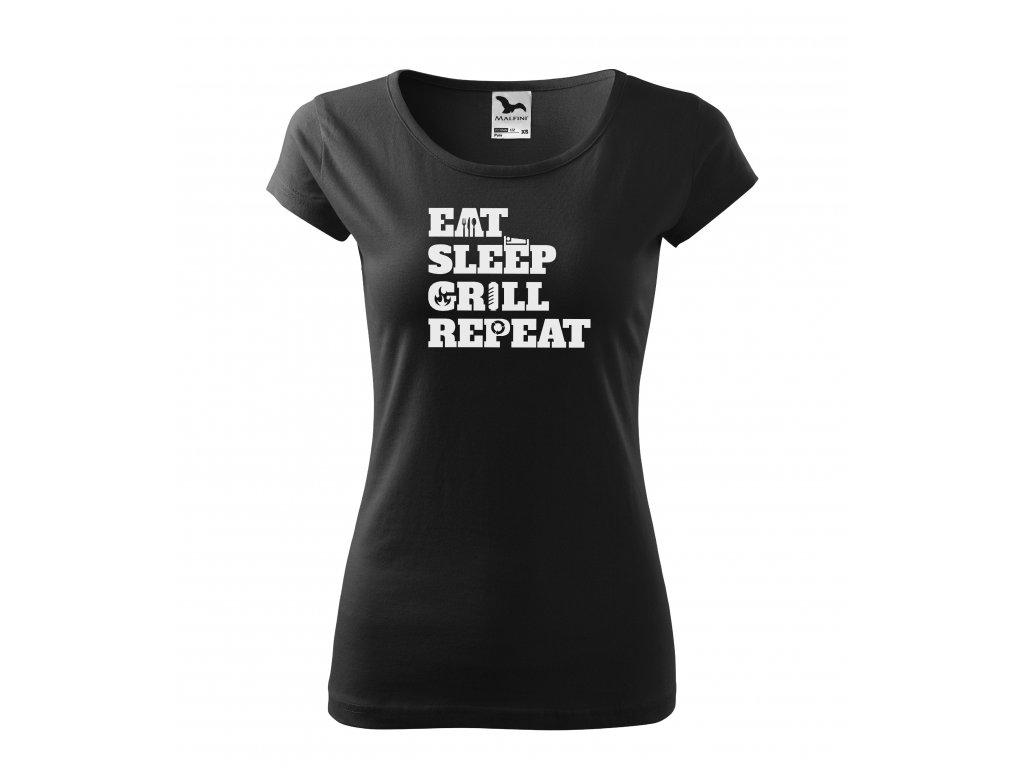 Dámské tričko eat sleep grill repeat (2)