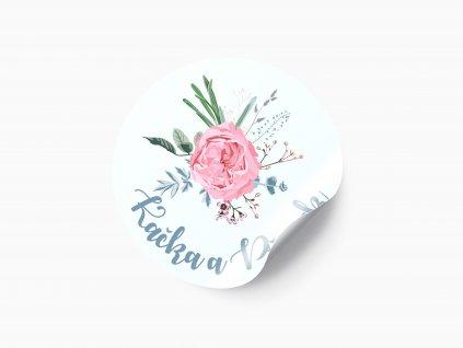 Svatební nálepka růžová růže