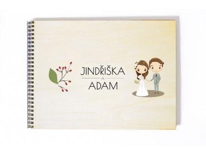 Svatební fotoalbum kreslený pár s šípky