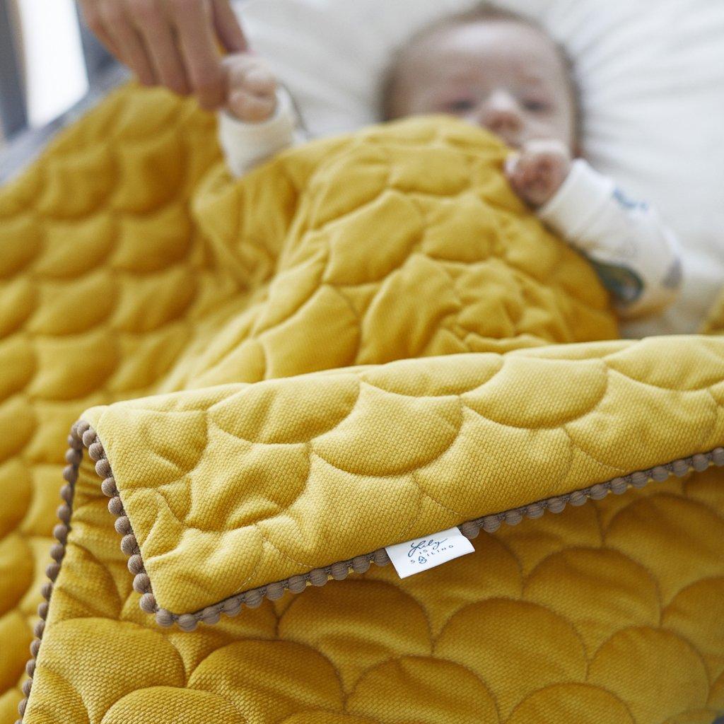 Velvet deka Mustard