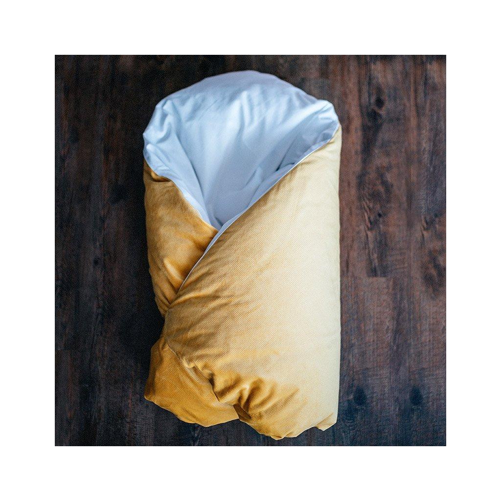 Péřová zavinovačka - Mustard velvet
