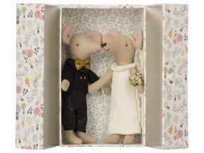 MAILEG Myšky v krabičce - ženich a nevěsta
