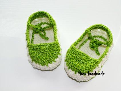 Capáčky pro miminko bílo zelené