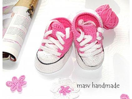 Háčkované tenisky růžové  háčkované a pletené botičky