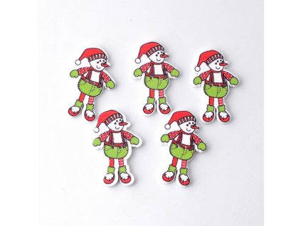 10Pcs Mixed 2 Holes Snowman With font b Christmas b font Wood font b Buttons b