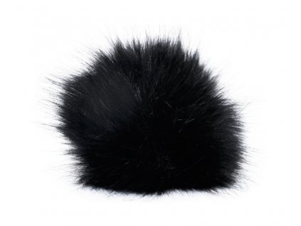 Bambule 1 černá  ozdobná na čepice,  průměr 13 cm