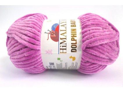 Příze Dolphin baby 80356 fialkově růžová  PLETACÍ A HÁČKOVACÍ PŘÍZE 100% polyester